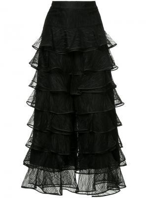 Платье с оборками на юбке Huishan Zhang. Цвет: чёрный