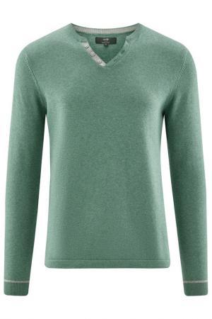 Пуловер oodji. Цвет: изумрудный,меланж