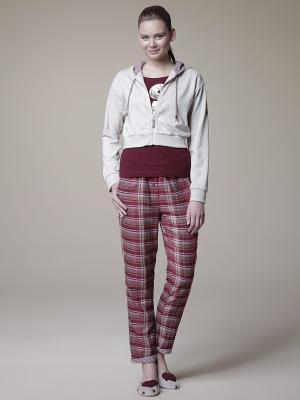 Пижама с брюками тройка RELAX MODE. Цвет: бордовый