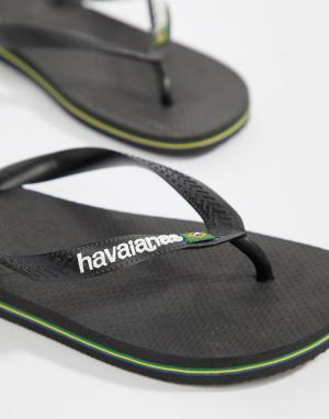 Havaianas Черные шлепанцы с логотипом Brasil. Цвет: черный