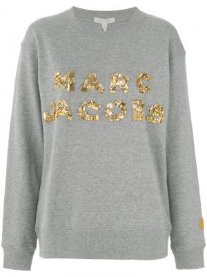 Толстовка с логотипом пайетками Marc Jacobs. Цвет: серый