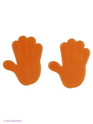 Липкий коврик SP-05OE Рука силиконовый оранжевый. Комплект 2шт. WIIIX. Цвет: оранжевый