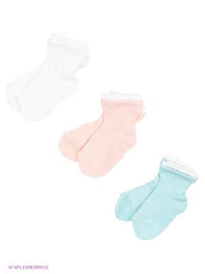 Носки - 3 пары Гамма. Цвет: белый, бирюзовый, персиковый