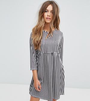 ASOS Petite Свободное платье в клеточку с длинными рукавами. Цвет: мульти