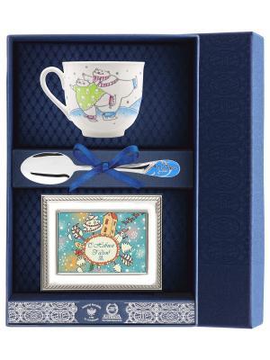 Набор чайный Ландыш - Фигурное катание (чашка + ложка+ рамка д/фото)+футляр АргентА. Цвет: серебристый