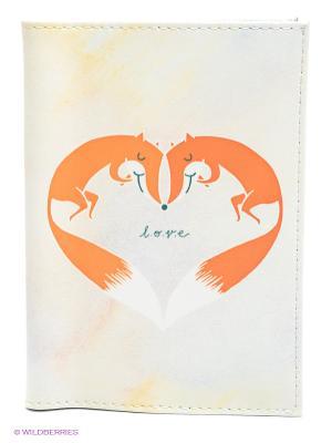Обложка для автодокументов Влюблённые лисички Mitya Veselkov. Цвет: белый, сиреневый, оранжевый, желтый