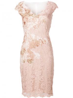 Кружевное платье с V-образным вырезом Olvi´S. Цвет: розовый и фиолетовый