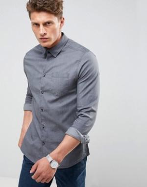 Burton Menswear Эластичная джинсовая рубашка зауженного кроя. Цвет: черный