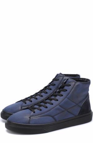Высокие кожаные кеды на шнуровке Hogan. Цвет: темно-синий