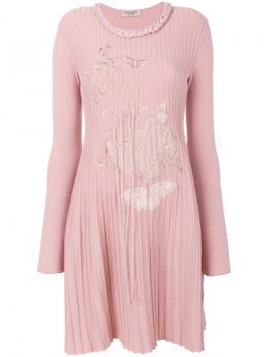 Платье с вышивкой бабочек Piccione.Piccione. Цвет: розовый и фиолетовый