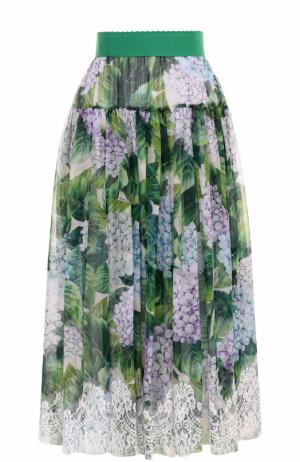 Шелковая юбка с цветочным принтом и кружевной отделкой Dolce & Gabbana. Цвет: зеленый