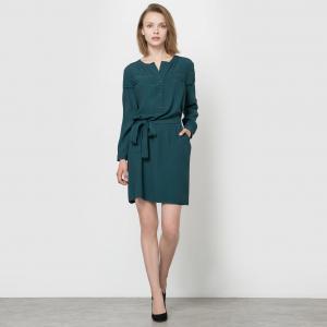 Платье прямого покроя SEE U SOON. Цвет: сине-зеленый,черный