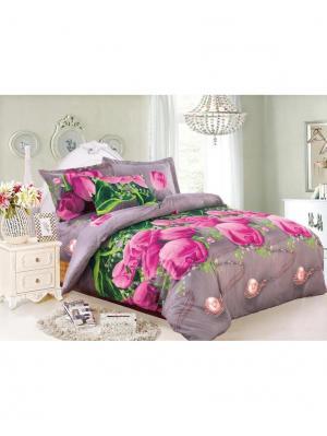 Комплект постельного белья 1,5 спальный Ля Мур. Цвет: розовый, зеленый