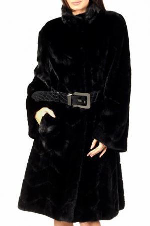 Полуприлегающая шуба с карманами Bellini. Цвет: черный