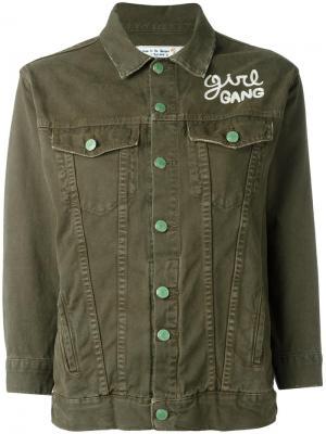 Джинсовая куртка Girl Gang Sandrine Rose. Цвет: зелёный