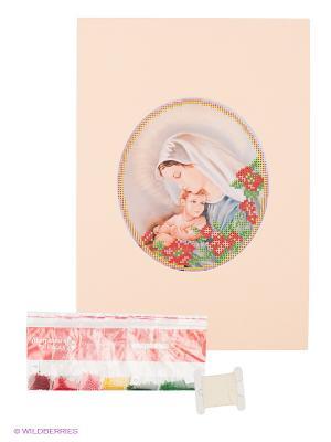 Набор для вышивания с бисером и паспарту Мать дитя Матренин Посад. Цвет: бежевый, зеленый, красный