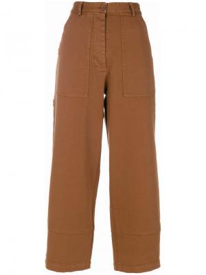 Укороченные брюки с высокой талией 8pm. Цвет: коричневый