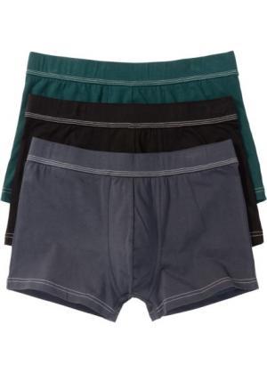 Трусы-боксеры (3 шт.) (ночная синь/насыщенный зеленый/черный) bonprix. Цвет: ночная синь/насыщенный зеленый/черный