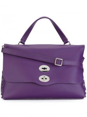 Большая сумка-тоут Postina Zanellato. Цвет: розовый и фиолетовый