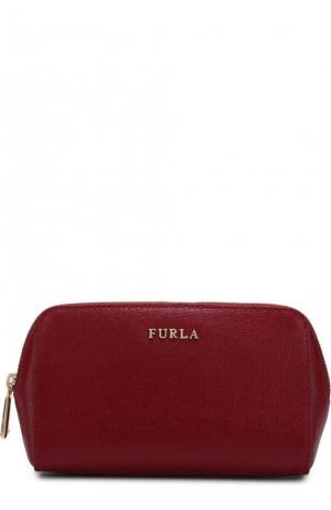 Косметичка из тисненой сафьяновой кожи Electra Furla. Цвет: красный