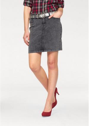 Вельветовая юбка Arizona. Цвет: серый потертый