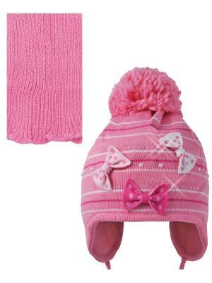 Шапка; шарф Ambra. Цвет: розовый