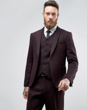ASOS Твидовый узкий пиджак в елочку из 100% шерсти. Цвет: красный