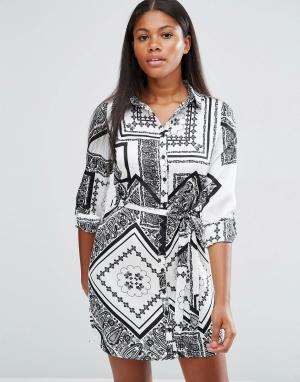 Parisian Платье-рубашка с черно‑белым принтом. Цвет: мульти