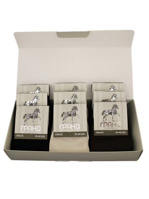 Носки мужские в подарочной упаковке ГРАНД 9 пар. Цвет: бежевый, коричневый, черный