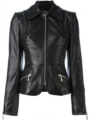 Приталенная кожаная куртка Plein Sud. Цвет: чёрный