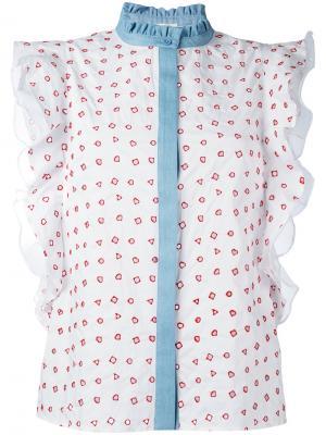 Блузка с рюшами и геометрическим узором Manoush. Цвет: белый