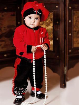 Велюровый костюм babyAngel. Цвет: красный, черный