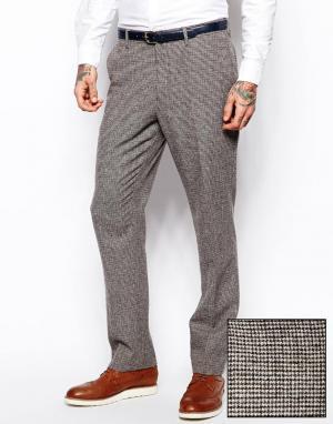 ASOS Узкие брюки с принтом гусиная лапка. Цвет: коричневый