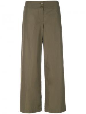 Широкие укороченные брюки Aspesi. Цвет: зелёный