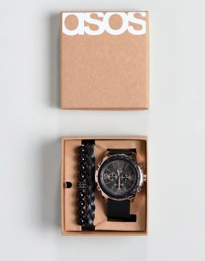 ASOS Подарочный набор из розово-золотисто-черных часов и браслетов. Цвет: черный