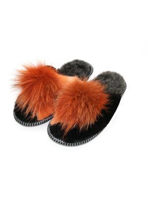 Туфли комнатные - тапочки Тефия. Цвет: оранжевый, черный, темно-серый