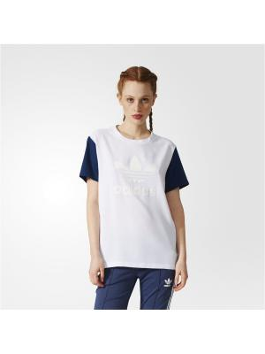 Футболка спортивная жен. BF TREFOIL TEE Adidas. Цвет: белый