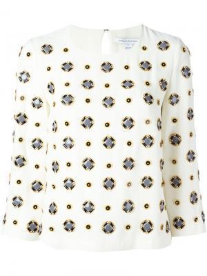 Блузка с геометрическим узором Diane Von Furstenberg. Цвет: белый