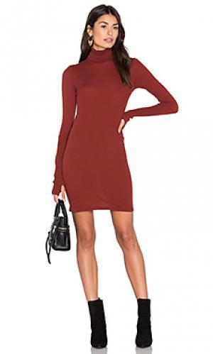 Платье из кашемира с длинным рукавом и высоким воротом Enza Costa. Цвет: ржавый