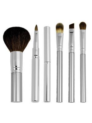 Royal & Langnickel CHIQUE Everyday Set. Набор натуральных кистей для макияжа (6шт ) Royal&Langnickel. Цвет: серебристый