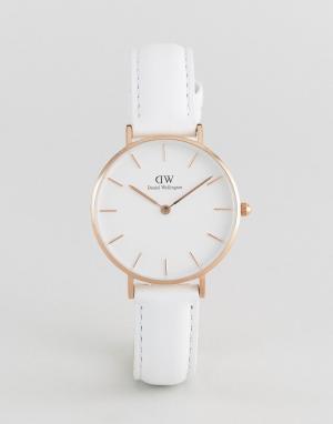 Daniel Wellington Часы с белым кожаным ремешком DW00100189 32мм. Цвет: белый