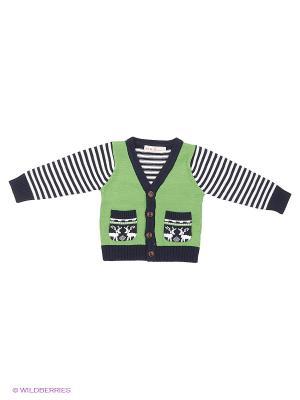 Кардиган M&DCollection. Цвет: зеленый, белый, черный