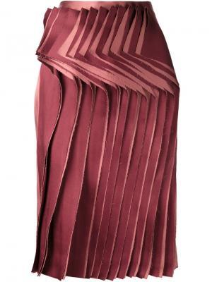 Юбка с плиссированной панелью спереди Audra. Цвет: розовый и фиолетовый