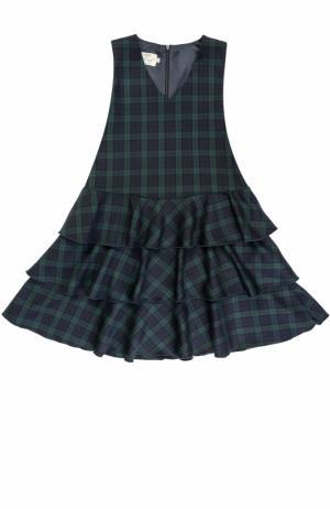Шерстяное платье с оборками и принтом Caf. Цвет: синий