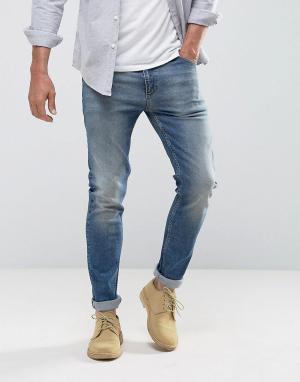 ASOS Синие выбеленные джинсы скинни. Цвет: синий