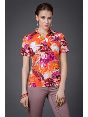 Блузка Арт-Деко. Цвет: оранжевый, бордовый, молочный