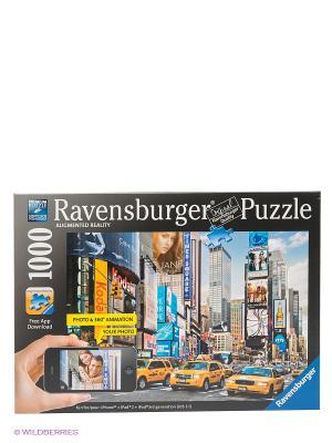 Паззл Утро на Таймс-сквер с видео-анимацией, 1000 шт Ravensburger. Цвет: голубой, желтый, синий, черный