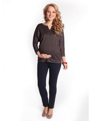 Блуза-пуловер Мамуля красотуля. Цвет: коричневый, бежевый, синий