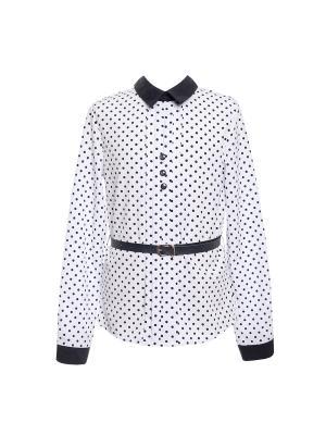 Блузка 7 одежек. Цвет: темно-синий, белый
