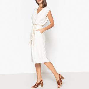 Платье без рукавов с V-образным вырезом POMANDERE. Цвет: экрю